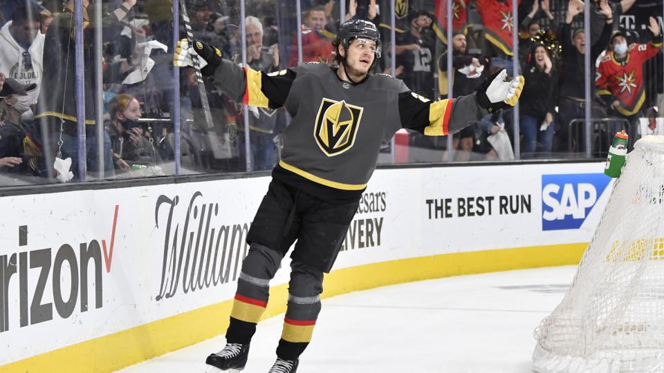LAS VEGAS, NEVADA - MAY 28: Mattias Janmark #26 of the Vegas Golden Knights celebrates after scoring a goal during the third period against the Minnesota Wild in Game Seven of the First Round of the 2021 Stanley Cup Playoffs at T-Mobile Arena on May 28, 2021 in Las Vegas, Nevada. (Photo by Jeff Bottari/NHLI via Getty Images)