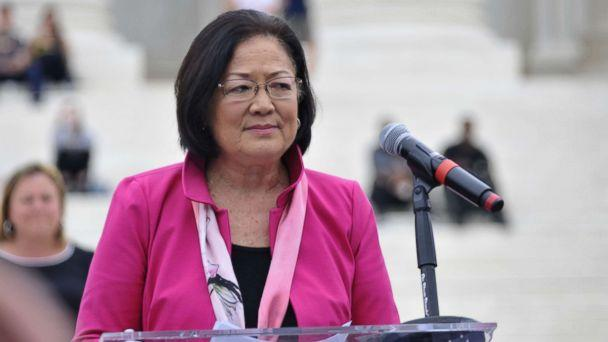 Sen. Mazie Hirono (D-HI) speaks to demonstrators gathered at the steps of the Supreme Court ahead of the expected confirmation of Judge Brett Kavanaugh, Oct. 6, 2018. (Bastiaan Slabbers/NurPhoto/ZUMA Press)
