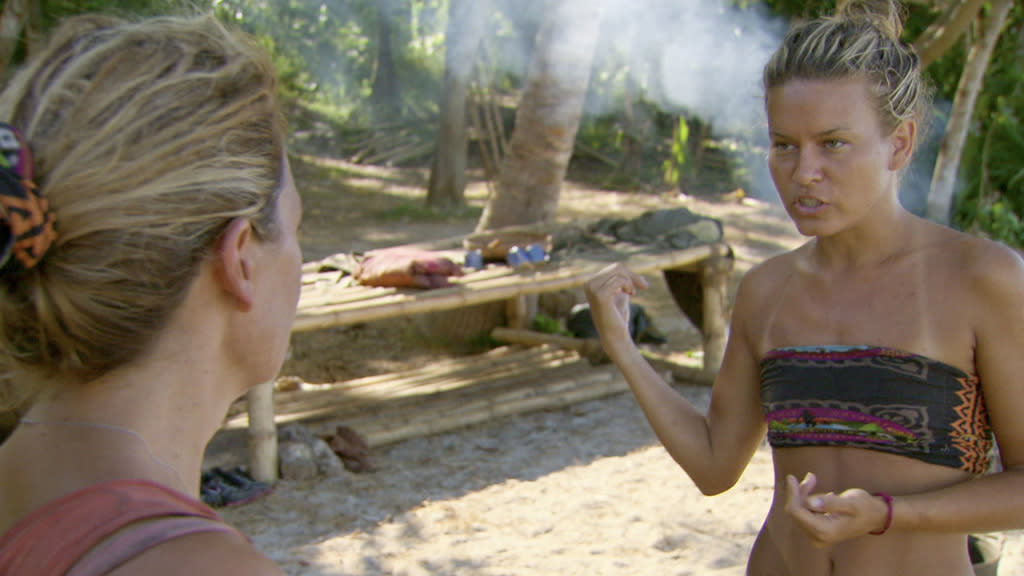 "Lisa Whelchel and Abi-Maria Gomes in the ""Survivor: Philippines"" episode, ""Gouge My Eyes Out."""