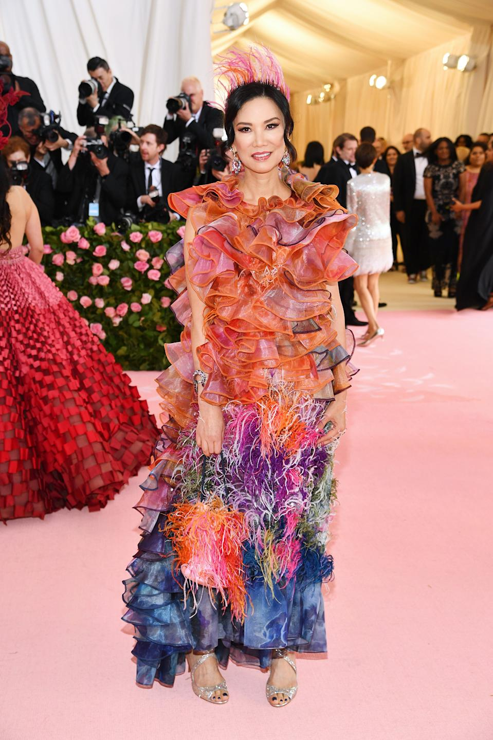 """<h1 class=""""title"""">Wendi Murdoch in Mary Katrantzou and Jimmy Choo shoes</h1><cite class=""""credit"""">Photo: Getty Images</cite>"""