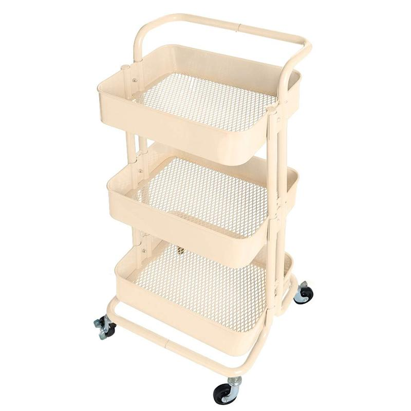 3-Tier Metal Utility Service Cart Rolling Storage Shelves