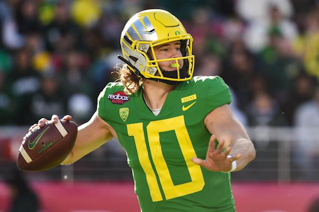 Oregon QB Justin Herbert is our top 2020 prospect at the position for now, but a lot can change with this coming season. (Getty Images)
