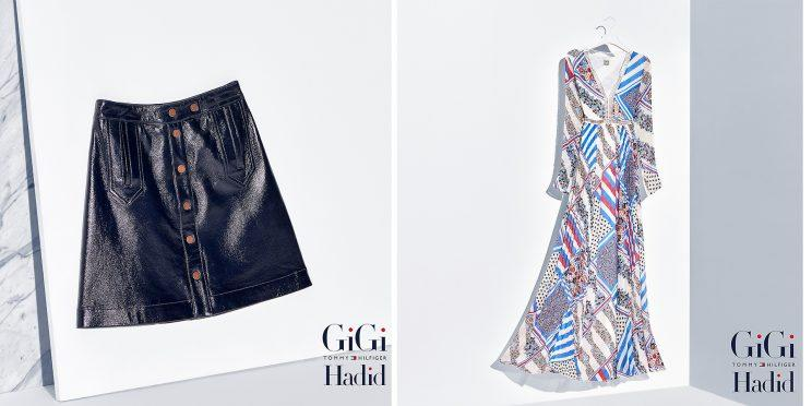 A skirt and a dress from the Tommy Hilfiger x Gigi Hadid collection