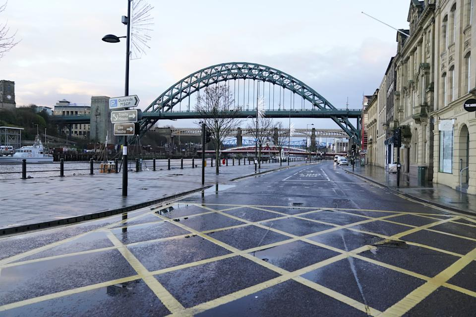 Empty streets and pavements on the Quayside in Newcastle upon Tyne the morning after Prime Minister Boris Johnson set out further measures as part of a lockdown in England in a bid to halt the spread of coronavirus. (Photo by Owen Humphreys/PA Images via Getty Images)