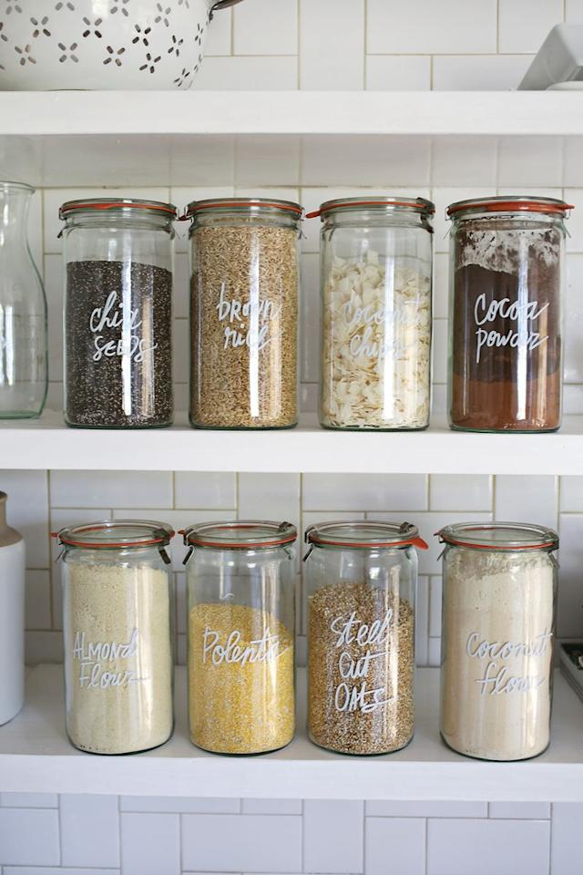 """<p>There's no need to invest in a label maker to mark your jars-all you need is a <a rel=""""nofollow"""" href=""""https://www.amazon.com/Paint-Painting-Ceramic-Acrylic-Markers/dp/B07485T22B"""">paint pen</a> in the color of your choosing.</p><p><strong>Get the tutorial at <a rel=""""nofollow"""" href=""""https://abeautifulmess.com/2015/12/try-this-paint-pen-kitchen-organization.html"""">A Beautiful Mess</a>.</strong></p><p><strong><a rel=""""nofollow"""" href=""""https://www.amazon.com/Paint-Painting-Ceramic-Acrylic-Markers/dp/B07485T22B"""">SHOP PAINT PENS</a></strong><strong></strong><strong><br></strong></p>"""