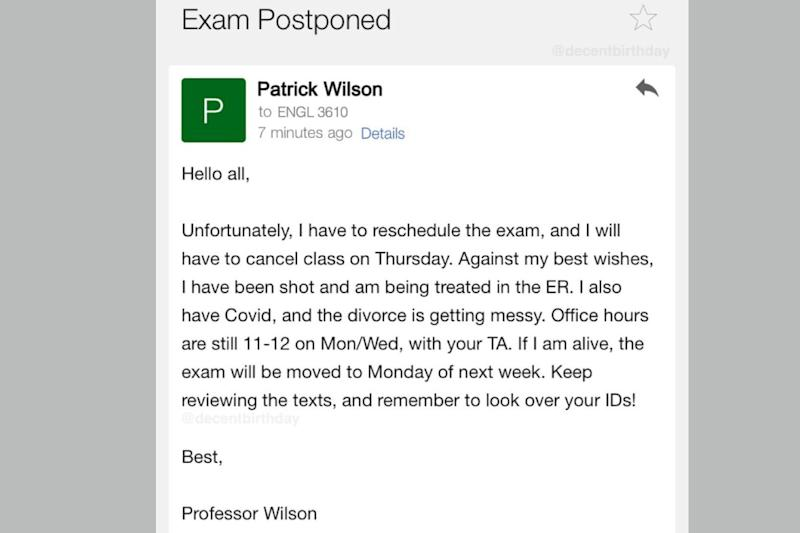 'Got Shot, Have Covid-19, Divorce Getting Messy': Professor's Email for Cancelling Exam is Going Viral