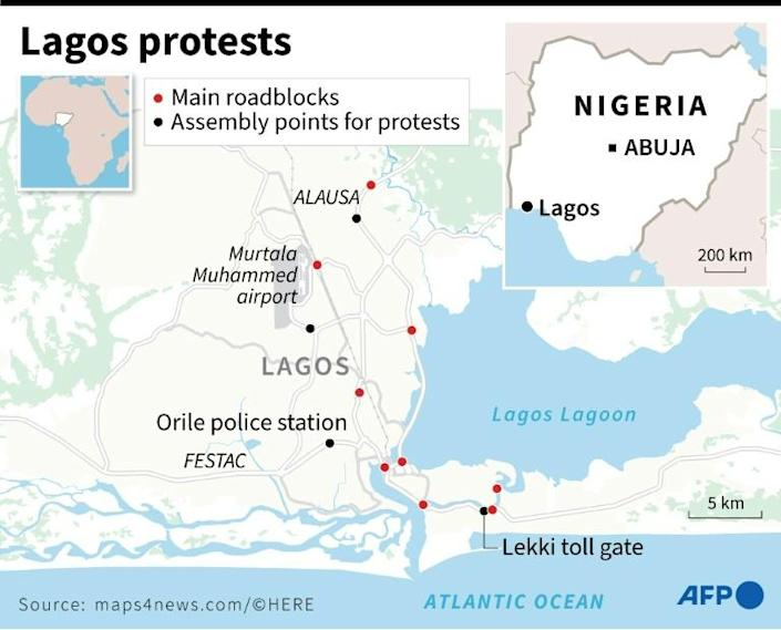 Map of Lagos detailing main assembly points for protests and main roadblocks