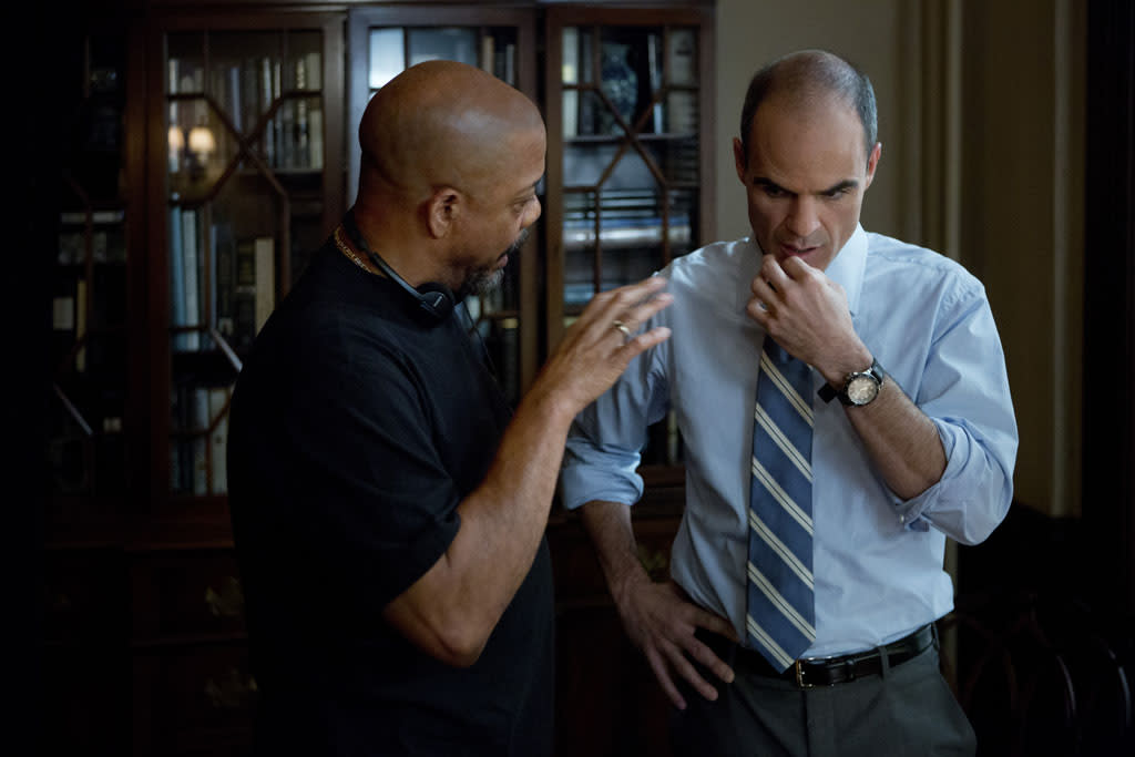"Director Carl Franklin (left) with actor Michael Kelly on the set of Netflix's ""House of Cards."""