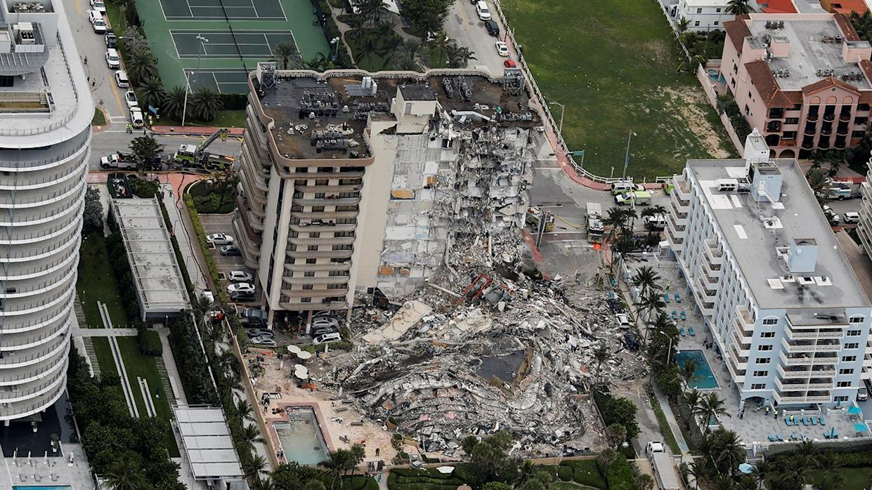 An aerial view showing a partially collapsed building in Surfside near Miami Beach, Florida, U.S., June 24, 2021. (Marco Bello/Reuters)