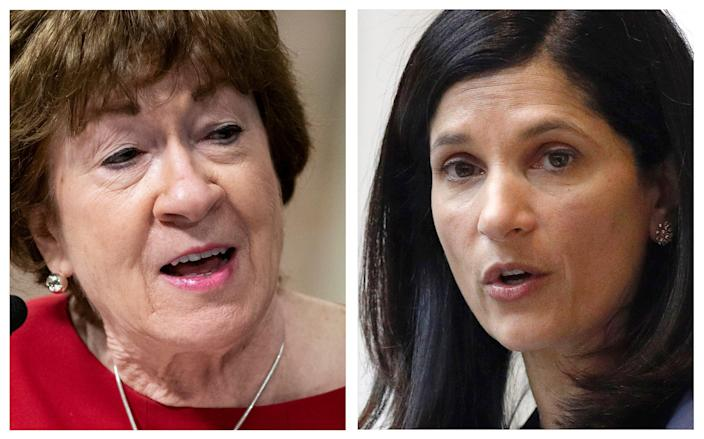 This pair of 2020 photos shows incumbent Republican U.S. Sen. Susan Collins, left, and Maine Democrat House Speaker, right, candidates for U.S. Senate in the Nov. 3 election.