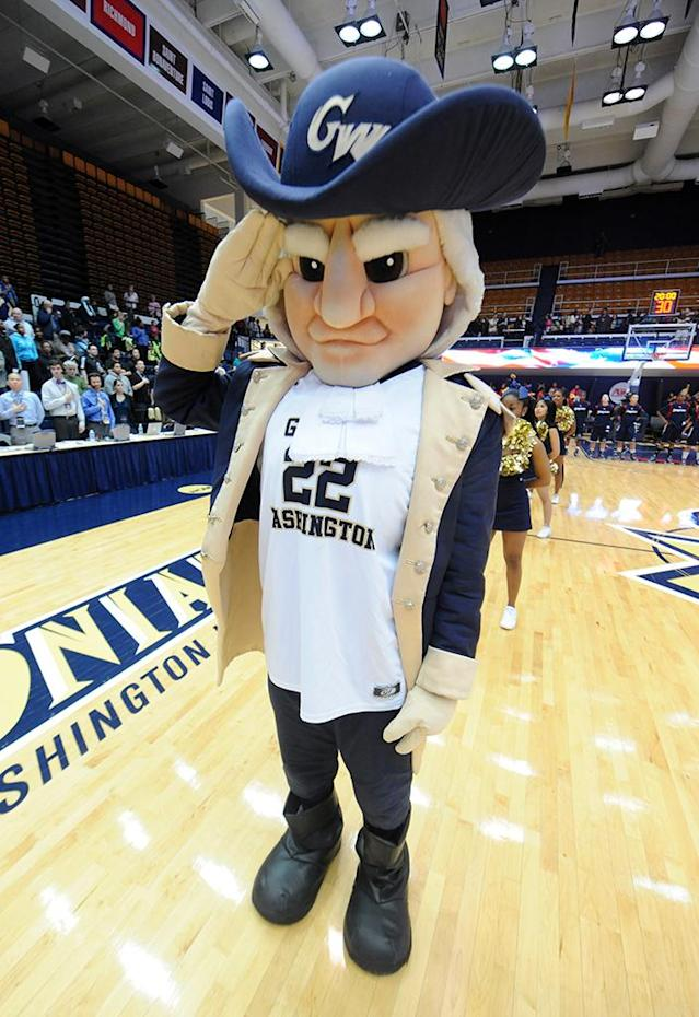 The George Washington Colonials mascot looks on before a college basketball game against the Duquesne Dukes on January 30, 2013 at the Smith Center in Washington, DC. The Dukes won 63-59 in double overtime. (Photo by Mitchell Layton/Getty Images)