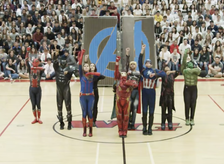 The Walden Grove High School PAC Dance Team performs an Avengers-themed dance at its homecoming pep rally. (Photo: YouTube)
