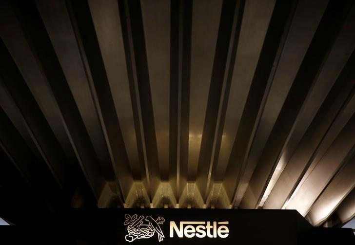 A Nestle logo is pictured on the company headquarters in Vevey