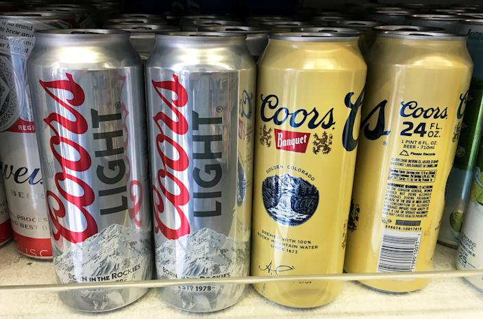 Coors beer cans are seen for sale at a store in Manhattan, New York, U.S., April 29, 2016.