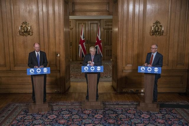 Professor Chris Whitty, Prime Minister Boris Johnson and Sir Patrick Vallance during a media briefing in Downing Street