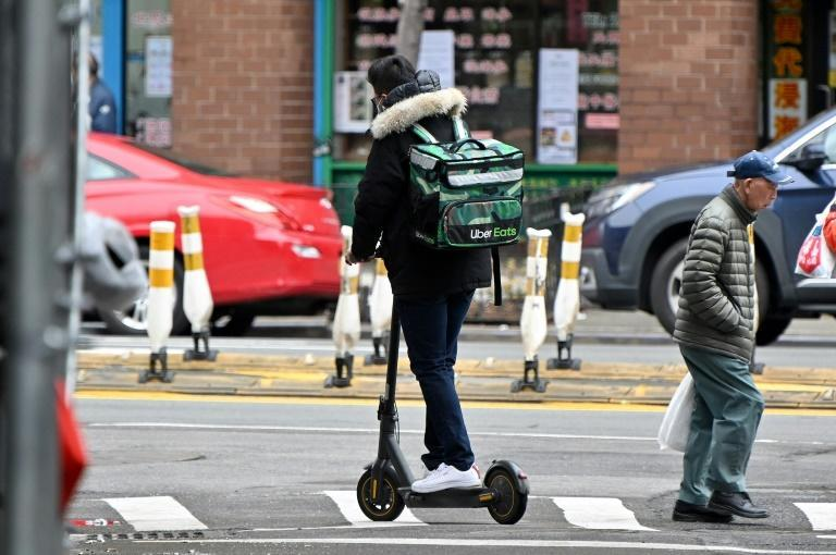 An Uber Eats delivery worker in New York in March 2020