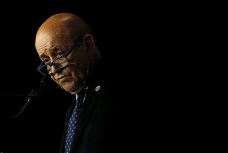 French Foreign Minister Jean-Yves Le Drian attends a news conference during the Foreign ministers of G7 nations meeting in Dinard, France, April 6, 2019. REUTERS/Stephane Mahe