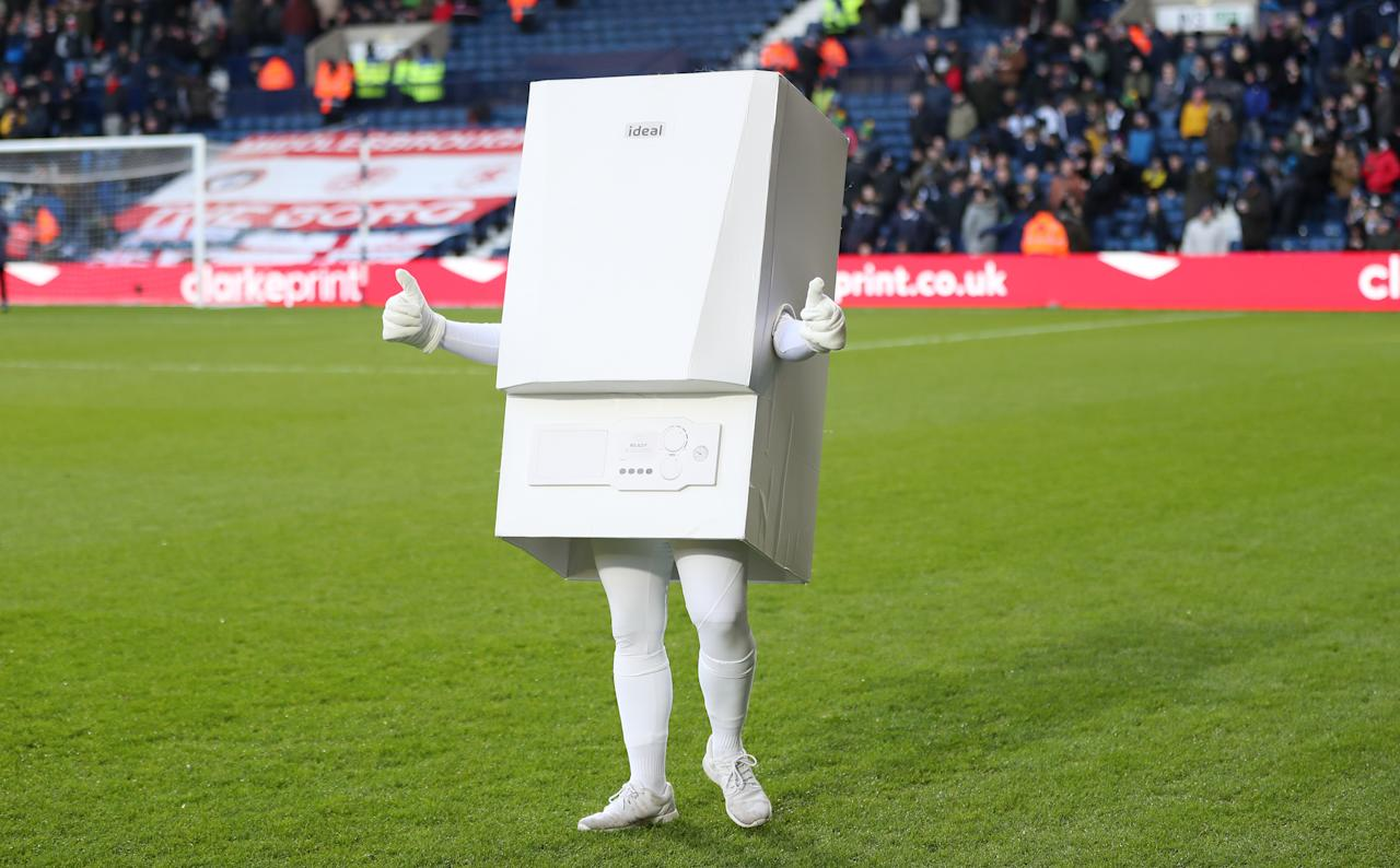 Say hello to Boilerman. West Brom's mascot who appeared at the start of last season as part of the Baggies' sponsorship deal with Ideal Boilers.