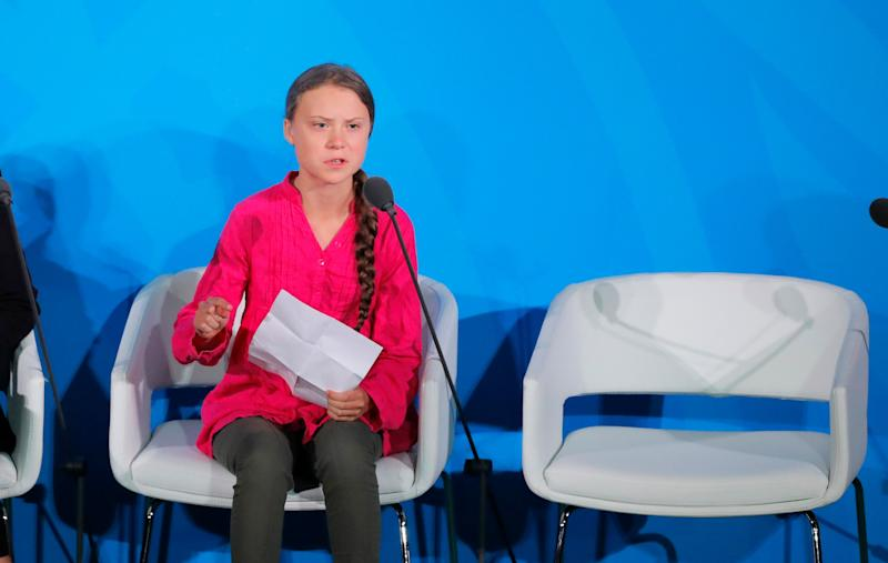 Climate activist Greta Thunberg speaks at the United Nations Climate Action Summit at U.N. headquarters in New York on Sept. 23, 2019. (Photo: Lucas Jackson / Reuters)