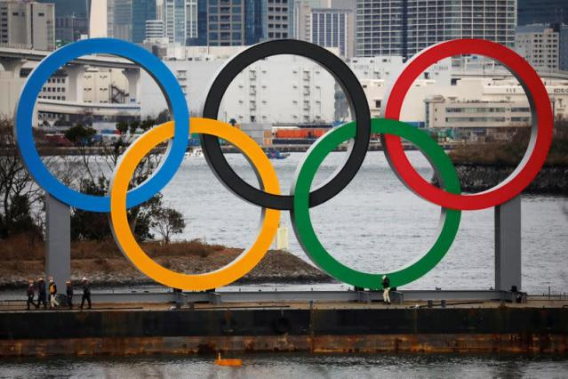 Giant Olympic Rings are installed at the waterfront area at Odaiba Marine Park in Tokyo, ahead of the Tokyo 2020 Summer Olympic Games