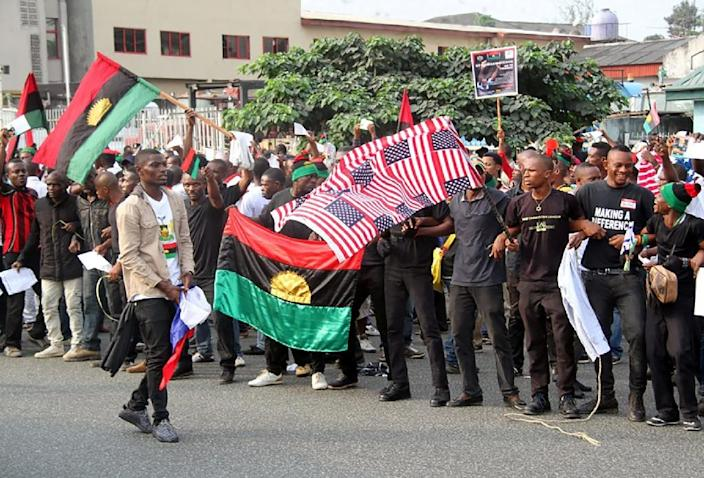 Organised by a pro-Biafra group that advocates for an independent state, the rally was held on the day of Donald Trump's inauguration (AFP Photo/STRINGER)