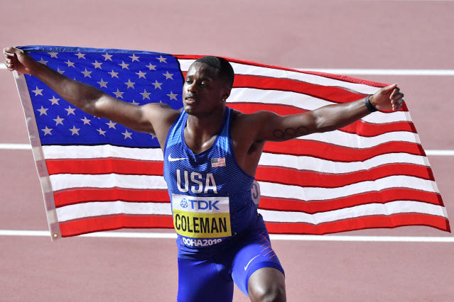 FILE - In this Sept. 28, 2019, file photo, Christian Coleman, of the United States, poses after winning the men's 100 meter race during the World Athletics Championships in Doha, Qatar. Reigning world champion Coleman insists a simple phone call from drug testers while he was out Christmas shopping couldve prevented the latest misunderstanding about his whereabouts, one he fears could lead to a suspension. (AP Photo/Martin Meissner, File)