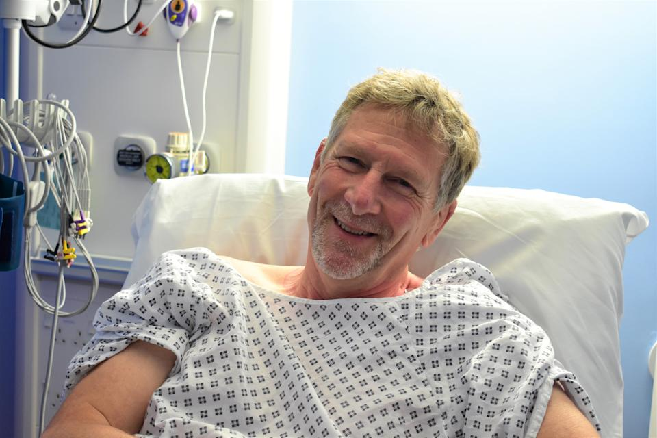 Patient John Constable, 65 of Lincolnshire, was fitted with a state-of-the-art heart implant (Royal Papworth Hospital/PA)