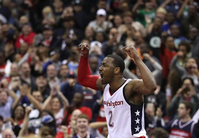 "<a class=""link rapid-noclick-resp"" href=""/nba/teams/was"" data-ylk=""slk:Washington Wizards"">Washington Wizards</a> star <a class=""link rapid-noclick-resp"" href=""/nba/players/4716/"" data-ylk=""slk:John Wall"">John Wall</a> has prematurely declared victory in the East before. (Getty Image)"
