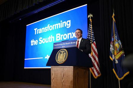 New York Governor Andrew Cuomo announces a $1.8 billion project to transform the South Bronx  in this handout photo