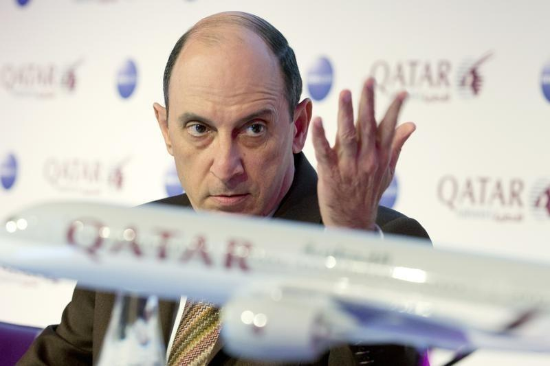 Qatar Airways Chief Executive Akbar Al Baker attends a news conference at the International Tourism Trade Fair (ITB) in Berlin