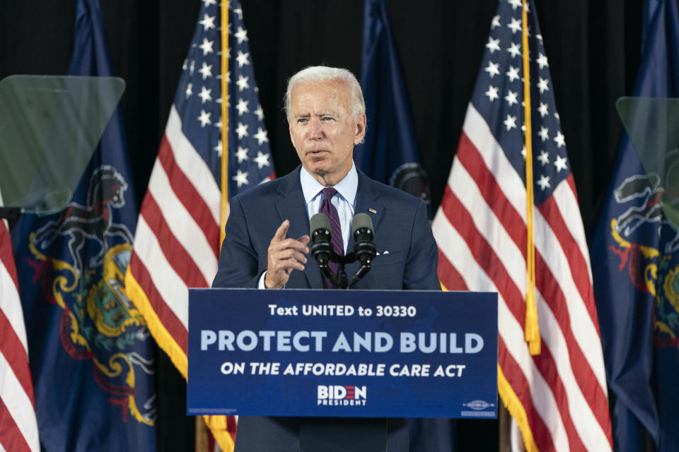 LANCASTER, PA - JUNE 25: Democratic presidential candidate former Vice President Joe Biden speaks during an event about affordable healthcare at the Lancaster Recreation Center on June 25, 2020 in Lancaster, Pennsylvania. Biden met with families who have benefited from the Affordable Care Act and made remarks on his plan for affordable healthcare. (Photo by Joshua Roberts/Getty Images)