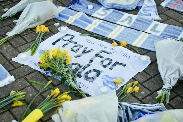 Flowers and tributes were placed outside Cardiff City Football Club as Sala was reported missing. (Ben Birchall/PA via AP)