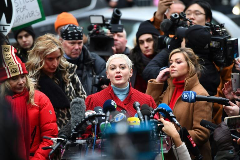 Actress Rose McGowan speaks during a press conference on the first day of the trial for disgraced Hollywood mogul Harvey Weinstein