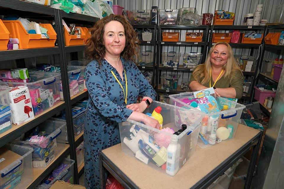 Jo Gilbert andSerena Van Der Meulen put together some boxes to go out into the community from the Hygiene Bank in Doncaster (Exposure Photo Agency/PA)