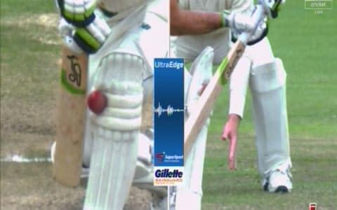 <span>Pieter Malan is given out - but did he hit the ball?</span> <span>Credit: SKY SPORTS CRICKET </span>