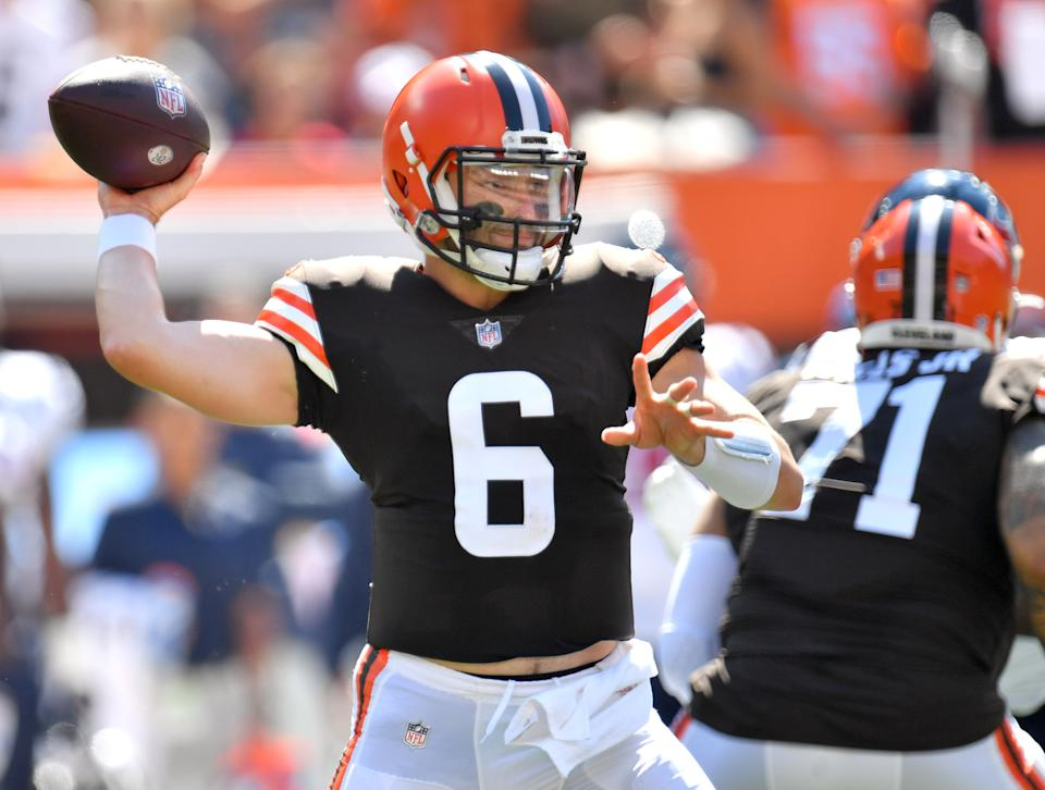 Baker Mayfield toughed out a shoulder injury and led the Browns to a Week 2 win. (Photo by Jason Miller/Getty Images)