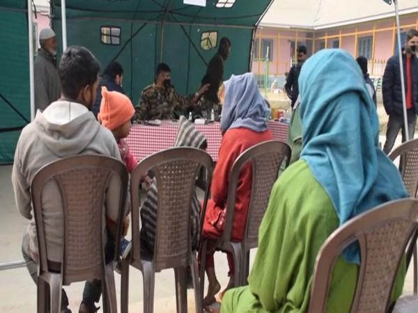 A visual from the medical camp in Pulwama's Newa village on Tuesday. Photo/ANI