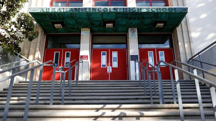 Stairs lead to the entrance of Abraham Lincoln High School in San Francisco, California
