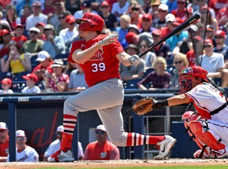 Mar 23, 2019; West Palm Beach, FL, USA; St. Louis Cardinals starting pitcher Miles Mikolas (39) connects for a two run homer against the Washington Nationals during a spring training game at FITTEAM Ballpark of the Palm Beaches. Mandatory Credit: Steve Mitchell-USA TODAY Sports