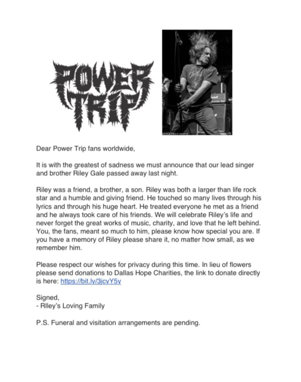 A statement was released by Riley's family on the band's Twitter account. Photo: Twitter/Power Trip