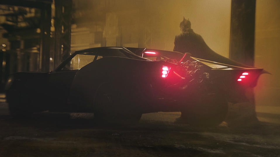 Robert Pattinson and his Batmobile from 'The Batman'. (Credit: Matt Reeves/Twitter)