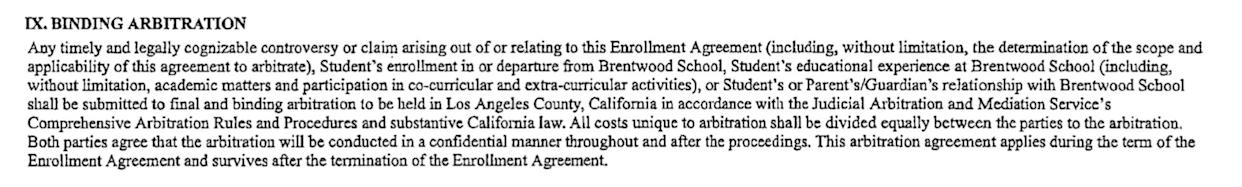 The mandatory arbitration clause in Brentwood School's enrollment agreement. (Photo: )