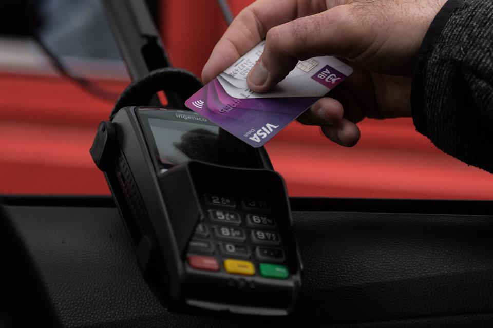 Contactless card payment at a take away in Dublin during Level Five COVID-19 lockdown. On Wednesday, March 23, 2021, in Dublin, Ireland. (Photo by Artur Widak/NurPhoto via Getty Images)