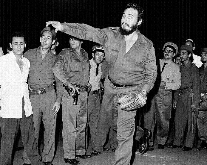 Former Cuban Prime Minister Fidel Castro throws out first ball before a Little World Series game in Havana on Sept. 2, 1959. (AP)