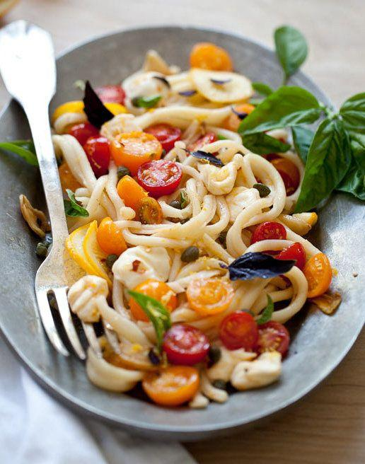 "<strong>Get the <a href=""http://www.foodiecrush.com/2012/08/pasta-with-marinated-tomatoes-recipes/"" target=""_blank"">Pasta with Marinated Cherry Tomatoes recipe</a> from Foodie Crush</strong>"