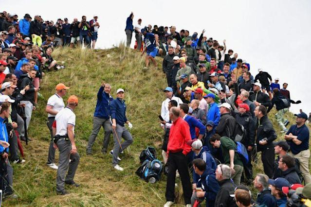 The ball was at his feet, and the flag stick was on the other side of this hill for Jordan Spieth. (Getty)