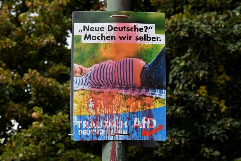 """A poster from the far-right Alternative for Germany (AfD) reading: """"We can make new Germans ourselves"""" is splattered with red paint in Berlin"""