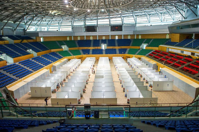 FILE PHOTO: Field hospital is seen inside arena amid spread of COVID-19 in Da Nang