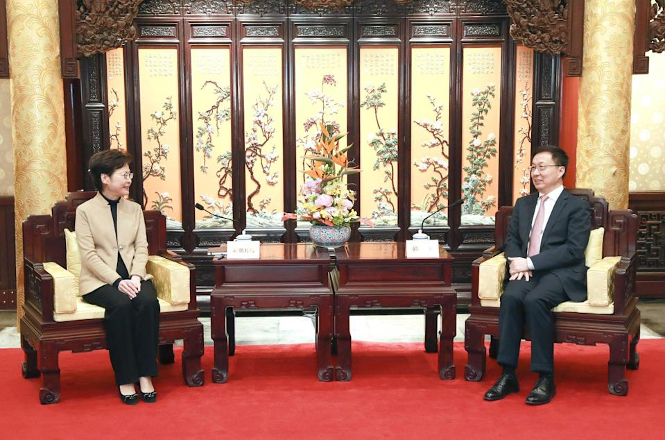 Hong Kong leader Carrie Lam (left) with Chinese Vice-Premier Han Zheng in Beijing on March 7, 2021. Photo: Xinhua