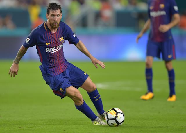 "<a class=""link rapid-noclick-resp"" href=""/soccer/players/lionel-messi/"" data-ylk=""slk:Lionel Messi"">Lionel Messi</a> and <a class=""link rapid-noclick-resp"" href=""/soccer/teams/barcelona/"" data-ylk=""slk:Barcelona"">Barcelona</a> played an exhibition match against <a class=""link rapid-noclick-resp"" href=""/soccer/teams/real-madrid/"" data-ylk=""slk:Real Madrid"">Real Madrid</a> in Miami in 2017. (Getty)"